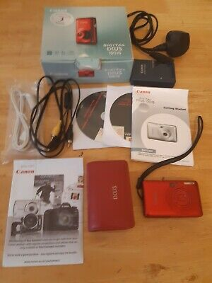 Canon IXUS 100 IS, 12.1MP Digital Camera - Red boxed with