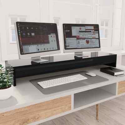 vidaXL Monitor Stand High Gloss Black Chipboard Screen
