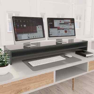 vidaXL Monitor Stand High Gloss Grey Chipboard Screen