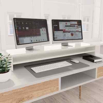 vidaXL Monitor Stand High Gloss White Chipboard Screen
