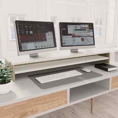 vidaXL Monitor Stand White and Sonoma Oak Chipboard Screen