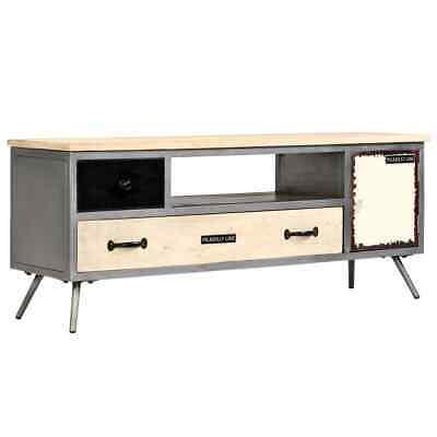 vidaXL Solid Mango Wood and Steel TV Cabinet 120x30x45cm