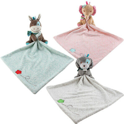2X(Baby Toddler Cartoon Animal Soothing Towel Plush Elephant