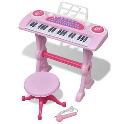 vidaXL Kids' Playroom Toy Keyboard with Stool/Micropho ne