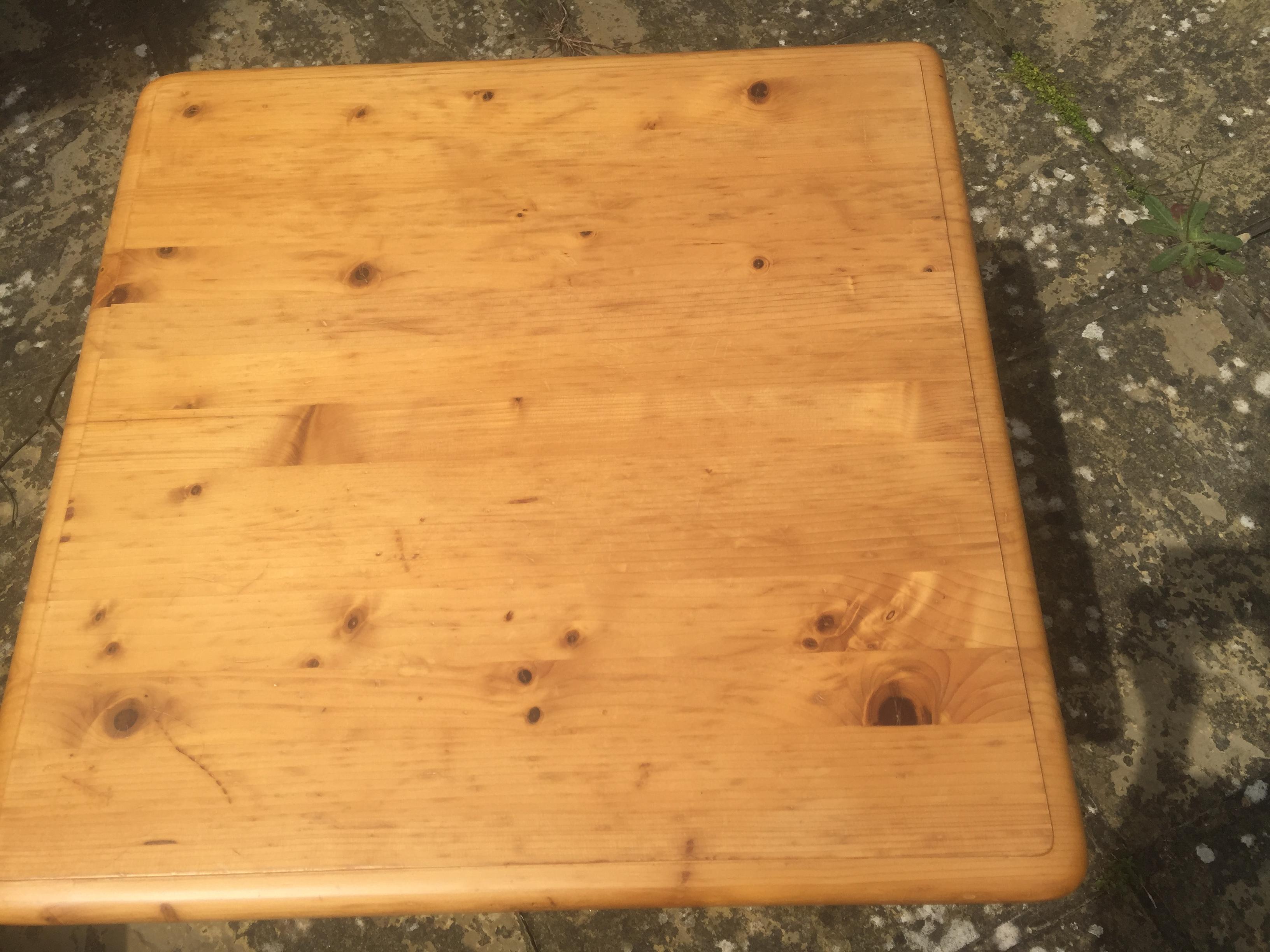 """Pine table 23"""" X 21"""" X 17"""" high. Call"""