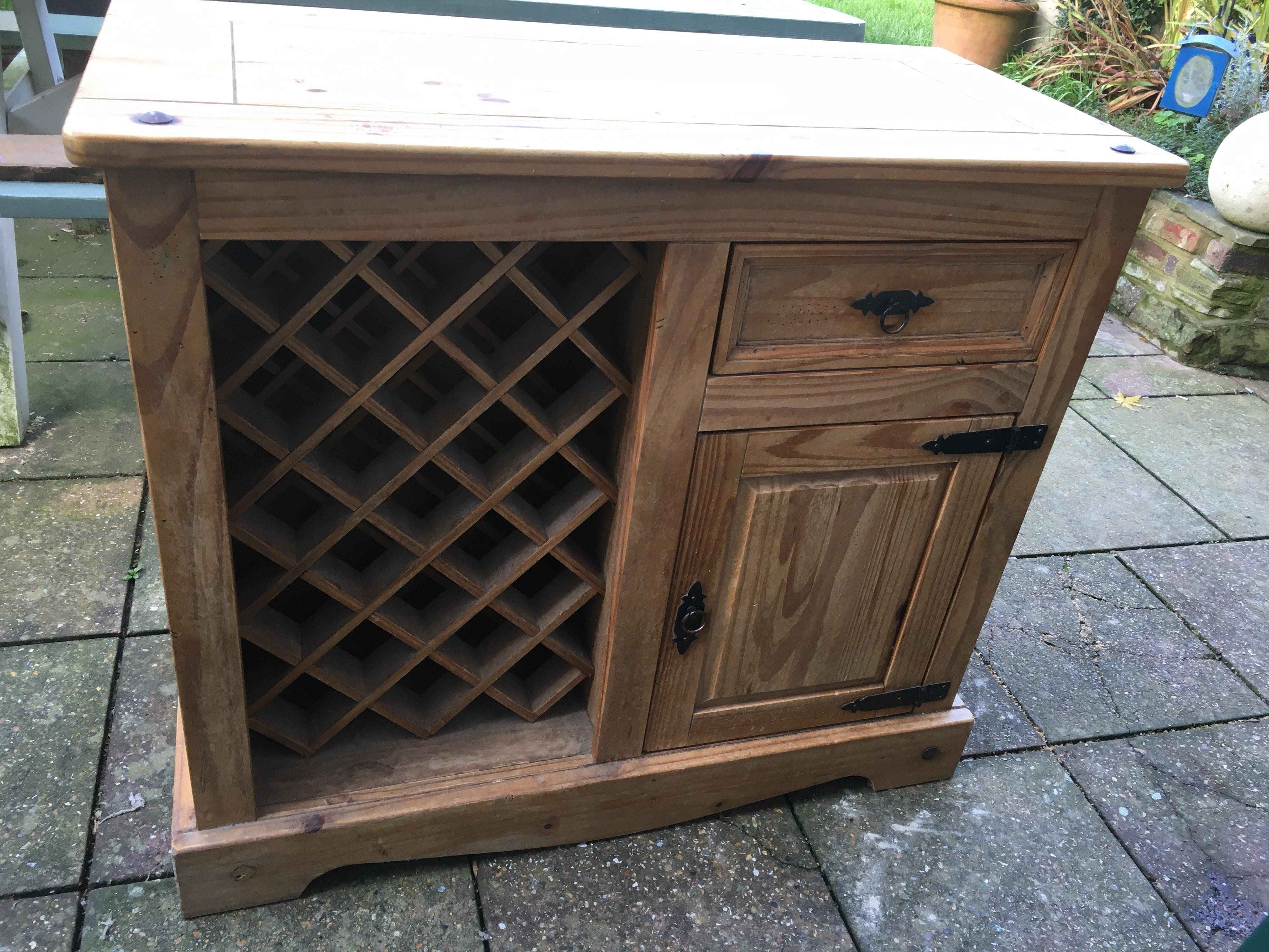 Solid Pine cupboard with Wine Rack and extending breakfast