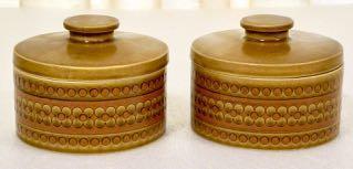 Vintage 's Hornsea Saffron Lidded Storage Jars - £18