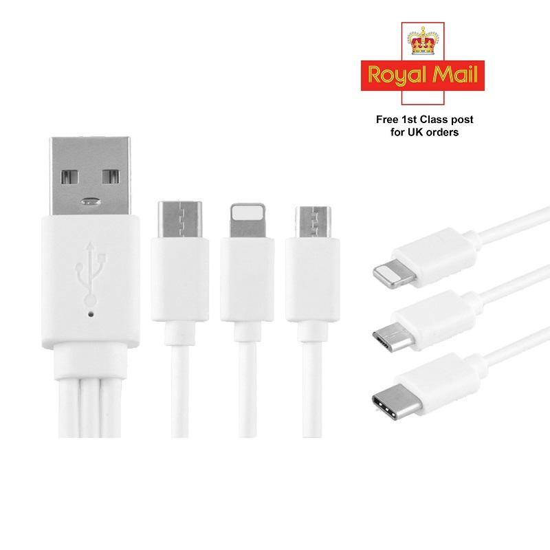 20cm 3 in 1 8Pin Lightning Micro USB Data Charging Cable for