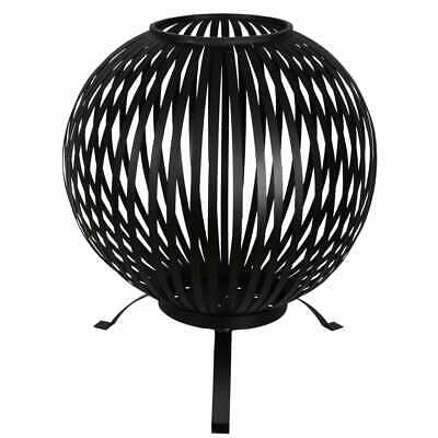 Esschert Design Fire Pit Ball Stripes Black Carbon Steel