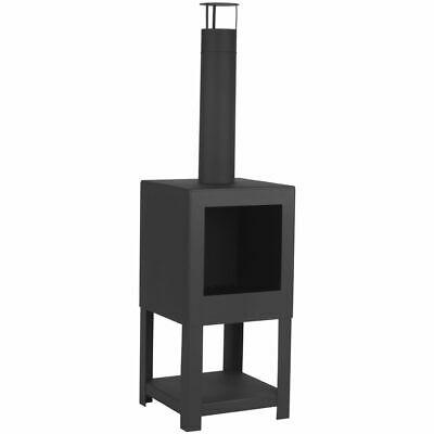 Esschert Design Outdoor Fireplace with Firewood Storage