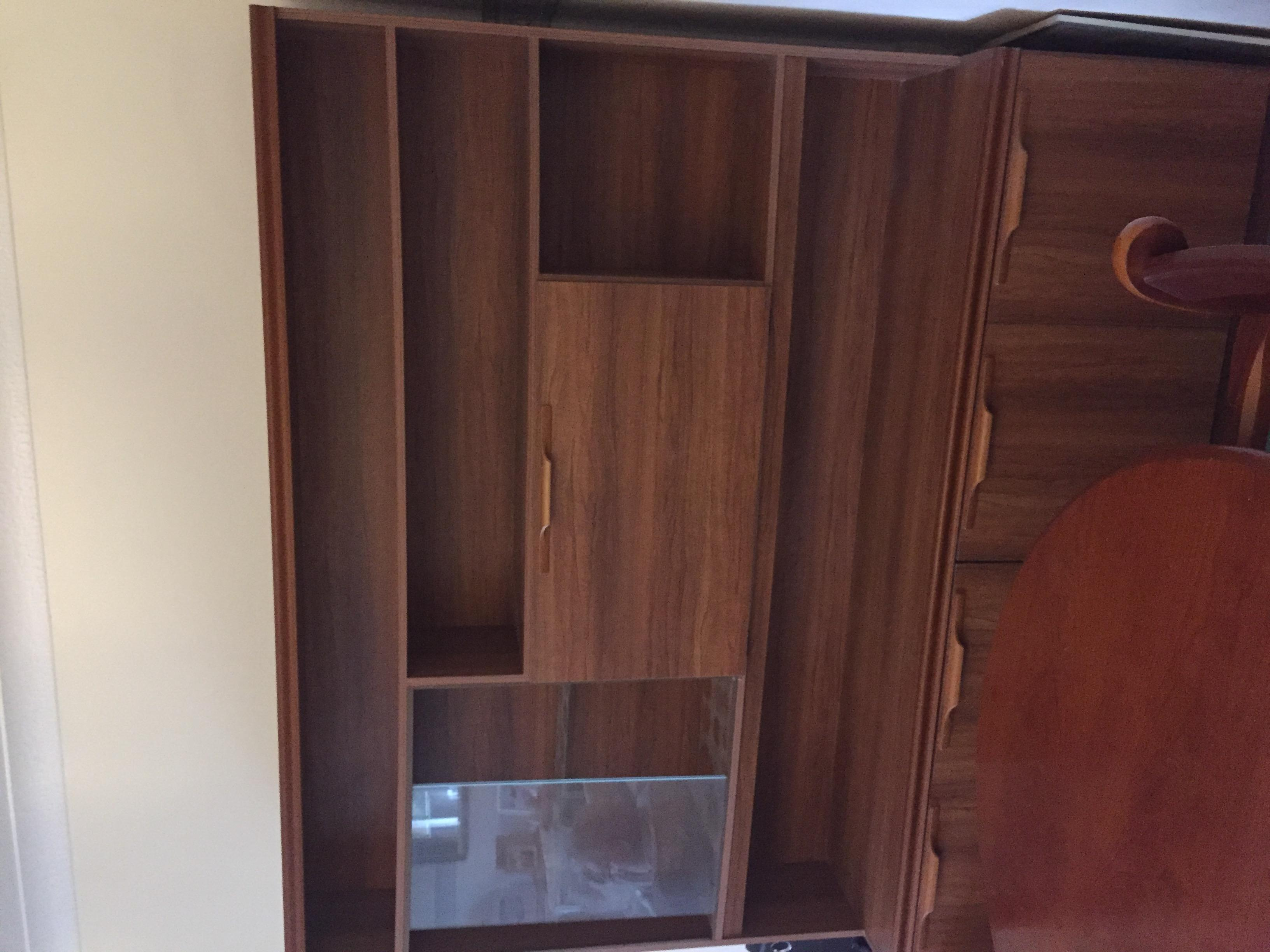 Wood and glass display unit