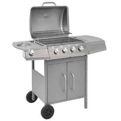 vidaXL Gas Barbecue Grill 4+1 Cooking Zone Silver Outdoor