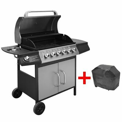 vidaXL Gas Barbecue Grill 6+1 Cooking Zone Black and Silver