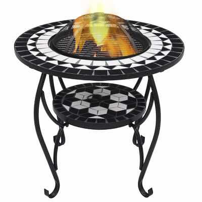 vidaXL Mosaic Fire Pit Table Black and White Ceramic