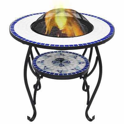 vidaXL Mosaic Fire Pit Table Blue and White Ceramic Barbecue