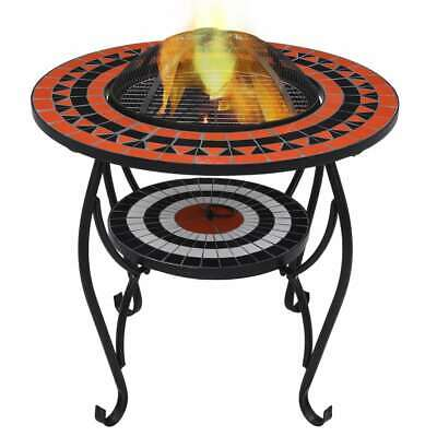 vidaXL Mosaic Fire Pit Table Terracotta and White Ceramic