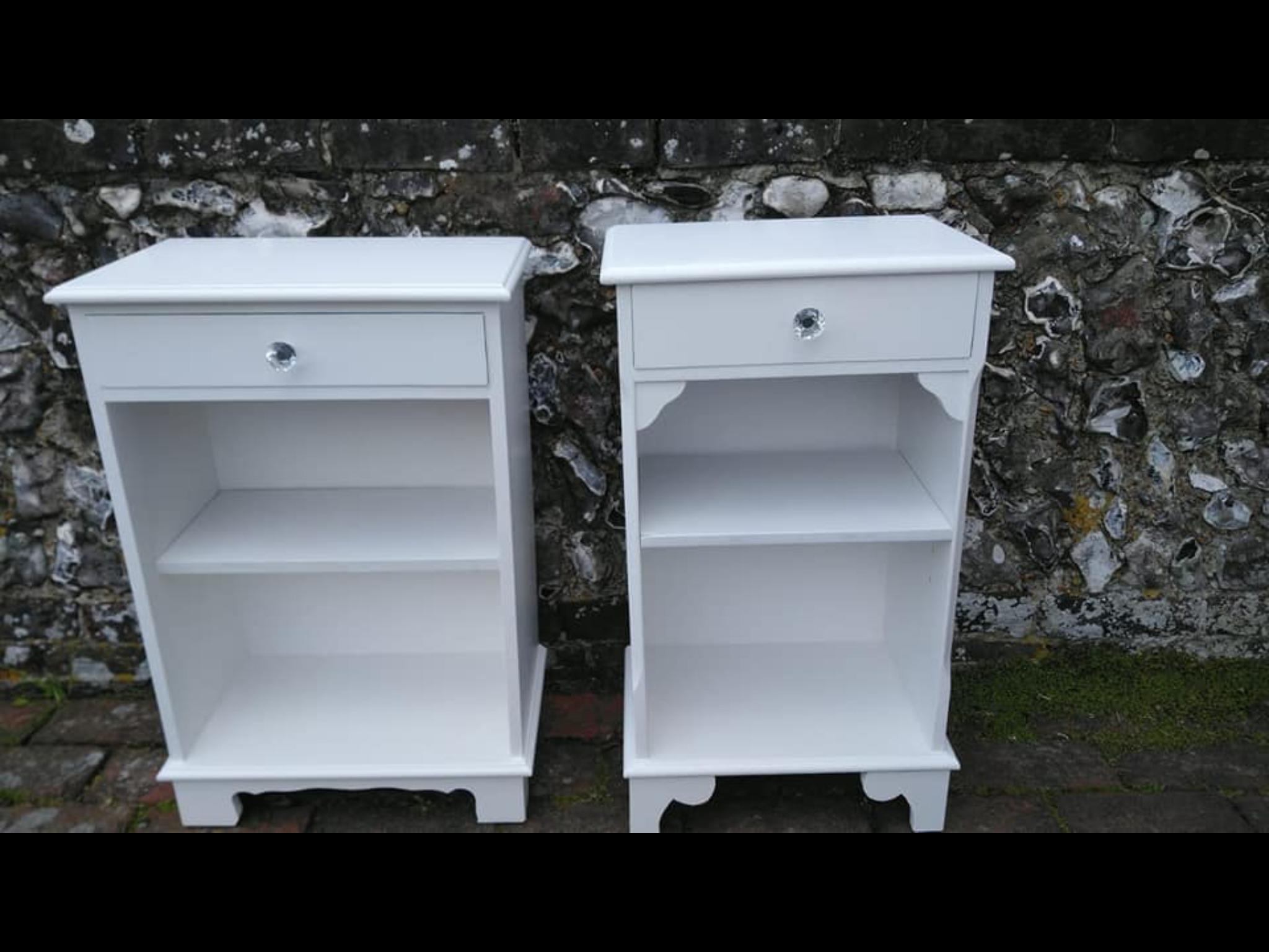 A Pair of Matching Vintage Solid Bedside Tables / Cabinets