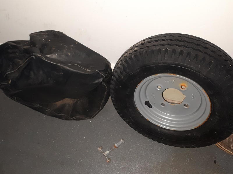 "Trailer Spare Wheel 4.00 x 8"" as new never used,with mount"