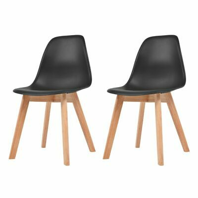 vidaXL 2x Dining Chairs Black Solid Wood Leg Plastic Seat