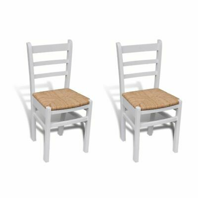 vidaXL 2x Dining Chairs Wood White Home Kitchen Living Room