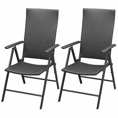vidaXL 2x Garden Chairs Poly Rattan Aluminium Black Outdoor