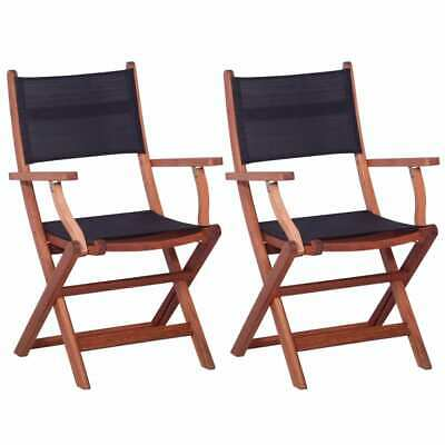vidaXL 2x Outdoor Chair Black Solid Eucalyptus Wood and