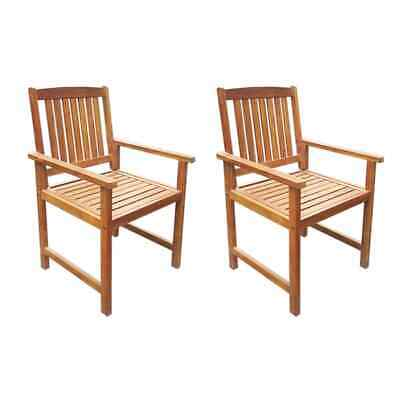 vidaXL 2x Solid Acacia Wood Outdoor Dining Chairs Brown