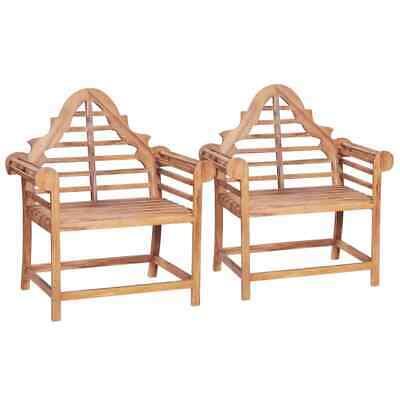 vidaXL 2x Solid Teak Garden Chair Marlboro Outdoor Reclining