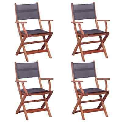 vidaXL 4x Outdoor Chairs Grey Solid Eucalyptus Wood and