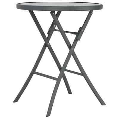 vidaXL Folding Outdoor Bistro Table 60x70cm Glass and Steel