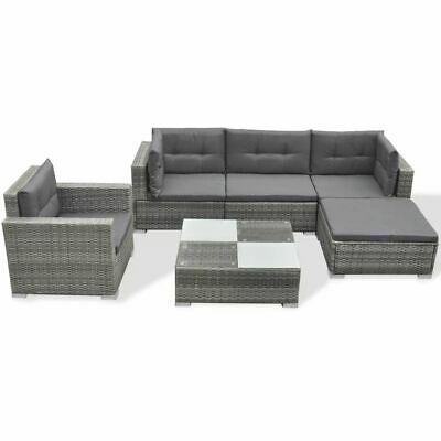vidaXL Garden Lounge Set 17 Pieces Poly Rattan Grey Outdoor