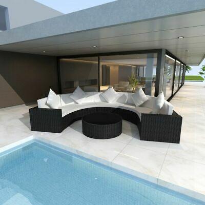 vidaXL Garden Sofa Set Half-round Poly Rattan Black Outdoor
