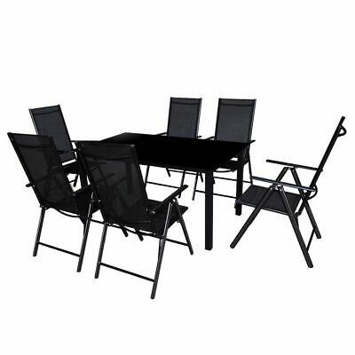 vidaXL Outdoor Dining Set 7 Piece Aluminium Black Table and