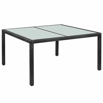 vidaXL Outdoor Dining Table Poly Rattan 150x90x75cm Black