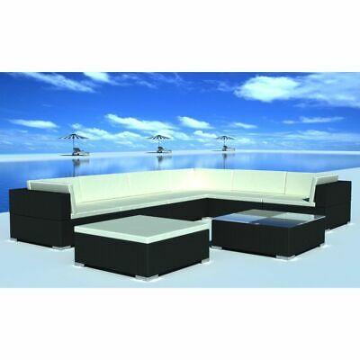 vidaXL Outdoor Lounge Set 24 Pieces Black Poly Rattan Garden