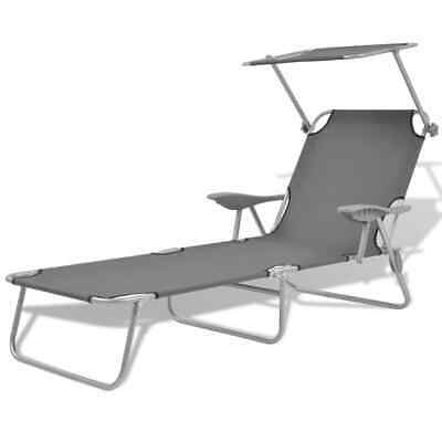 vidaXL Outdoor Sun Lounger with Canopy Patio Furniture Grey
