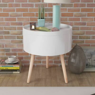 vidaXL Side Table with Serving Tray Round 39.5x44.5cm White