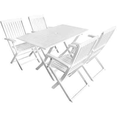 vidaXL Solid Acacia Wood 5 Piece Outdoor Dining Set White