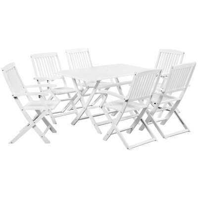 vidaXL Solid Acacia Wood 7 Piece Outdoor Dining Set White