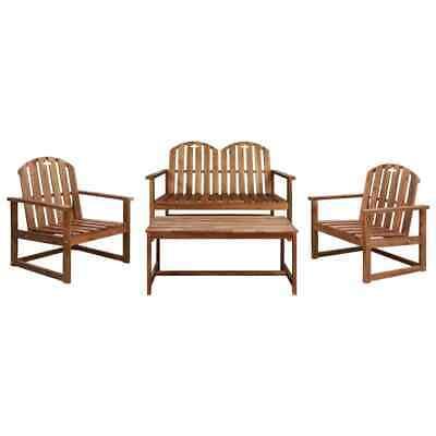 vidaXL Solid Acacia Wood Garden Sofa Set 4 Piece Outdoor