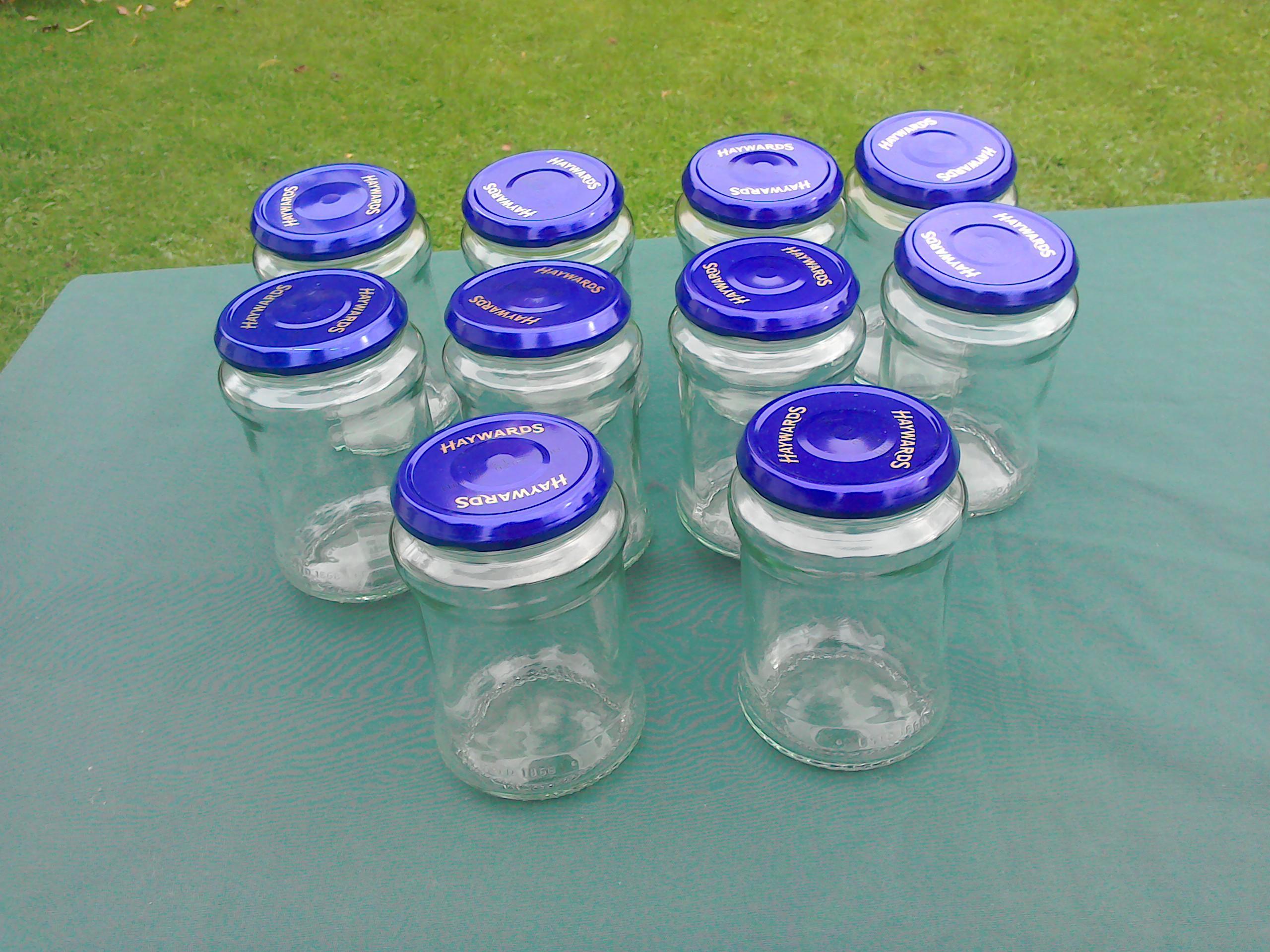 Jars x 10, for preserves (pickles, jams etc). 1LB size ish.