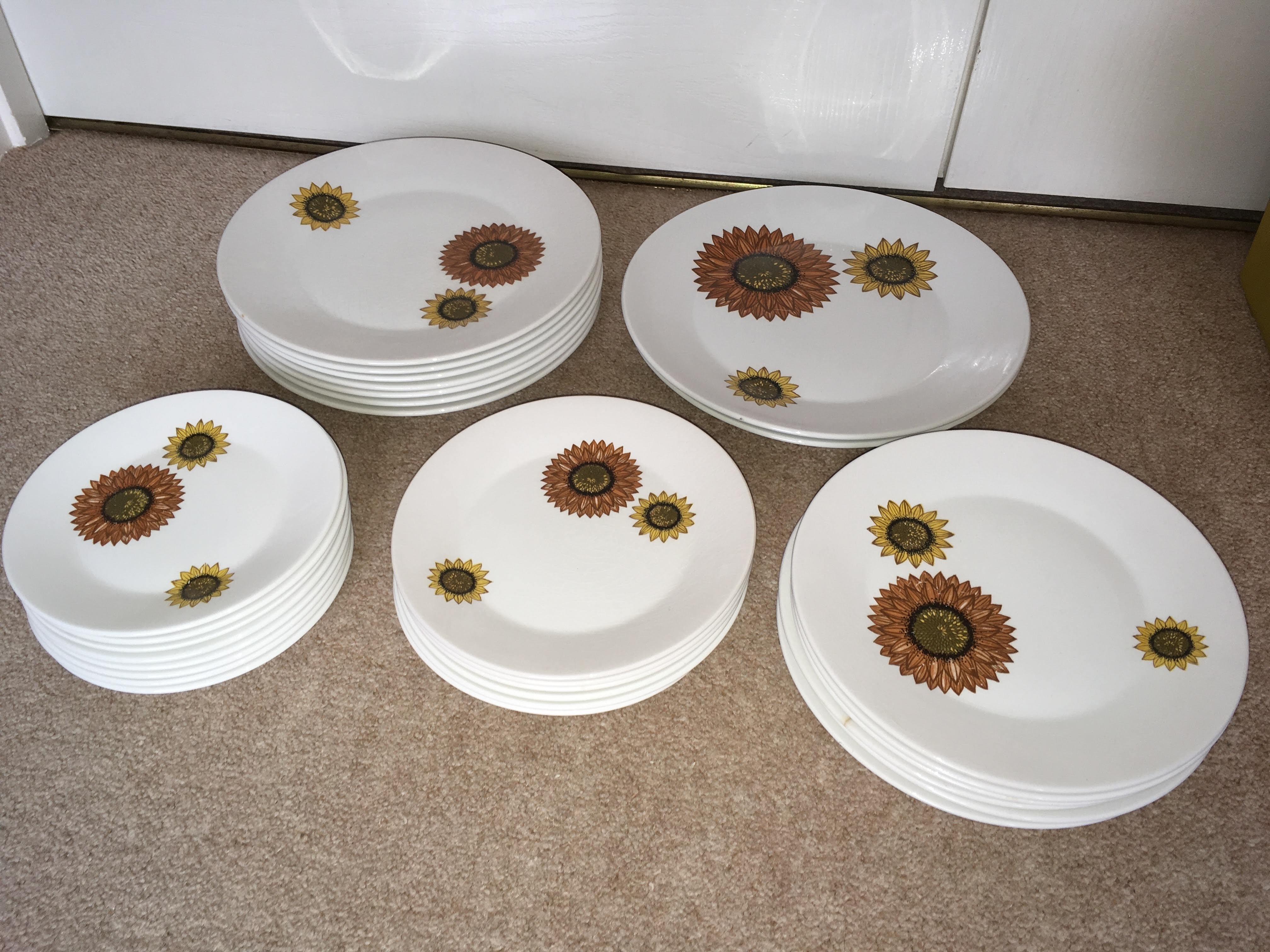 Dinner, side and cake plates (Meakin - Sunflower design)