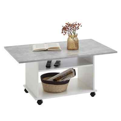 FMD Coffee Table with Castors Concrete Grey and White Living