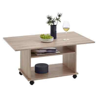 FMD Coffee Table with Castors Oak Tree Home Decor Furniture