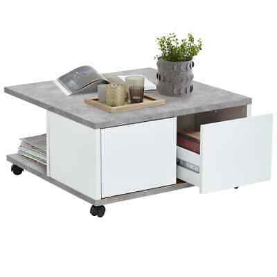 FMD Mobile Coffee Table Concrete and Glossy White Living