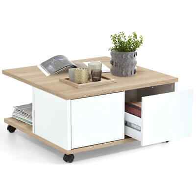 FMD Mobile Coffee Table Oak and Glossy White Living Room End