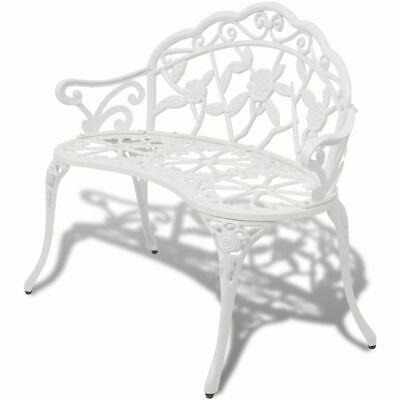 Garden Bench Outdoor Chair Park Seat Furniture White Cast