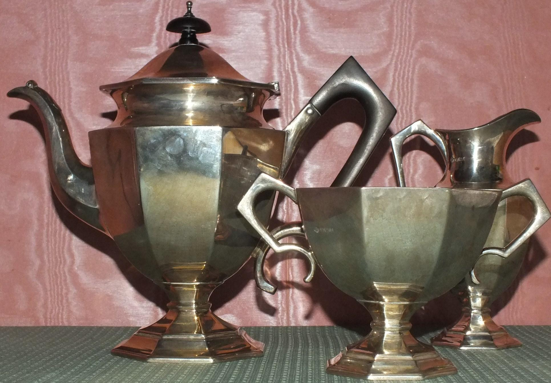 HALLMARKED THREE PIECE SILVER TEA SET.GOOD HEAVY GAUGE