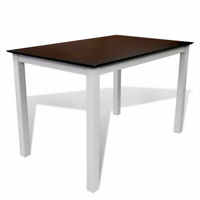 Solid Wood Brown White Dining Table 110 cm Kitchen Living