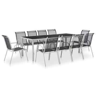 vidaXL 11 Piece Outdoor Dining Set Steel and Textilene Black